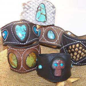 Handcrafted Leather Cuffs With Genuine Turquoise